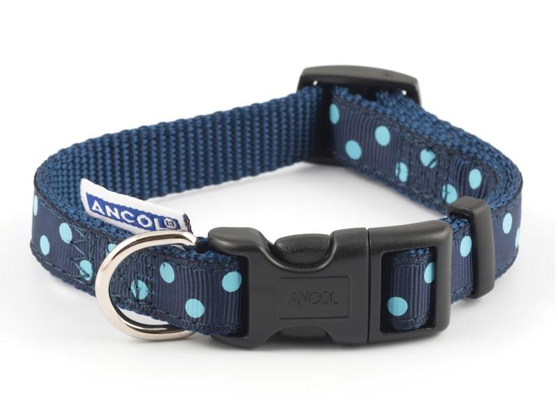 Polka Dot Dog Collar Blue Adjustable Medium 30cm-50cm