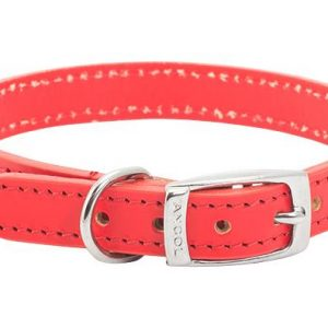 Leather Collar Red Size 4 18 inch