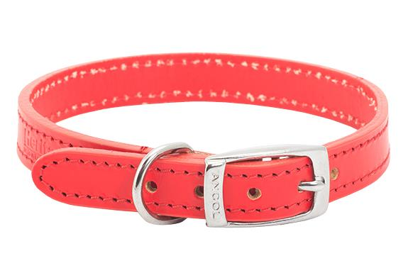 Leather Collar Red Size 2 14 inch