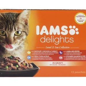 Iams Cat Delights Land and Sea Gravy 12 Pack